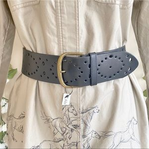 NWT CAbi Perforated Tooled Leather Waist Belt